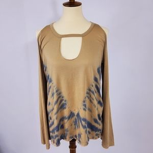 Chaser tie dye cold shoulder long sleeve t…